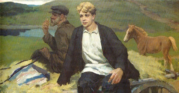 «ВОЗВРАЩЕНИЕ НА РОДИНУ» Худ. Семенихин Ф.П.  Возвращение Есенина на родину (600x312, 64Kb)