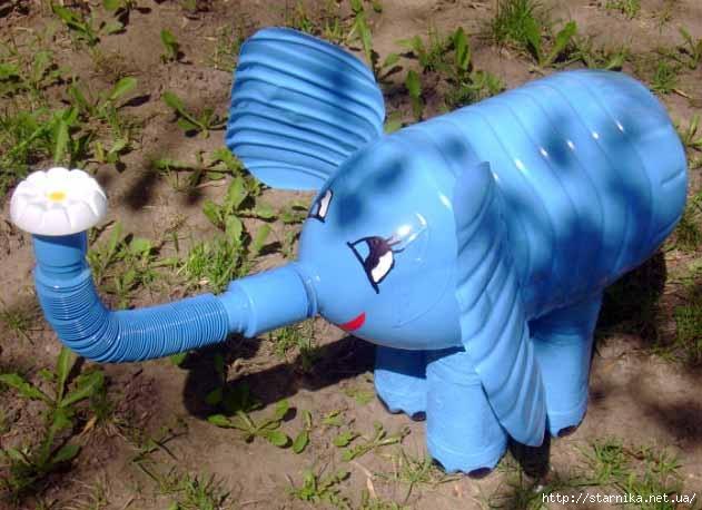 Слон из пластиковых бутылок своими руками фото