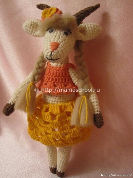вязаная коза, как связать козочку, схема вязания козы козочки, мастер класс по вязанию козы,  Хьюго Пьюго рукоделие, http://idi-k-nam.ru/,