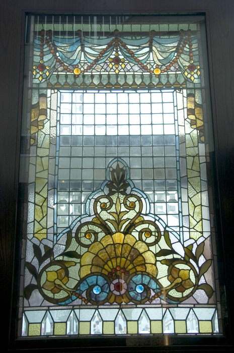 Stained glass fence door