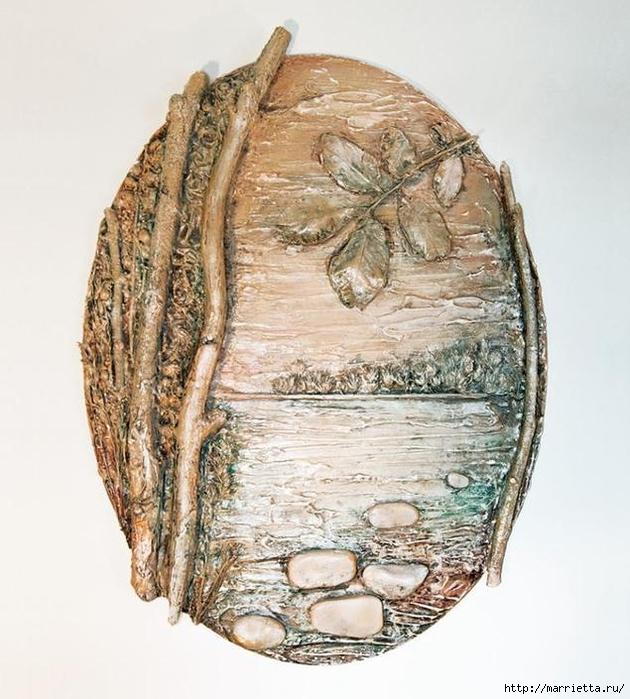 Панно из природных материалов ЛЕСНОЕ ОЗЕРО (1) (630x700, 289Kb)