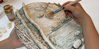Панно из природных материалов ЛЕСНОЕ ОЗЕРО (11) (400x200, 132Kb)