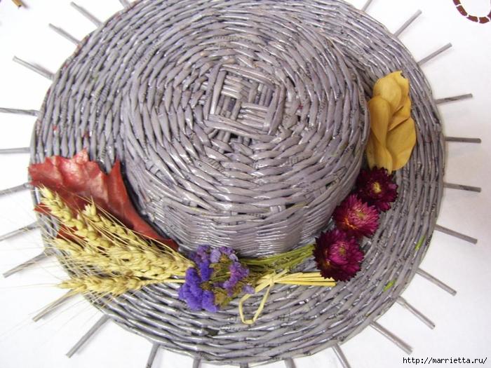 ШЛЯПКИ. Плетение из газетных трубочек (22) (700x525, 301Kb)