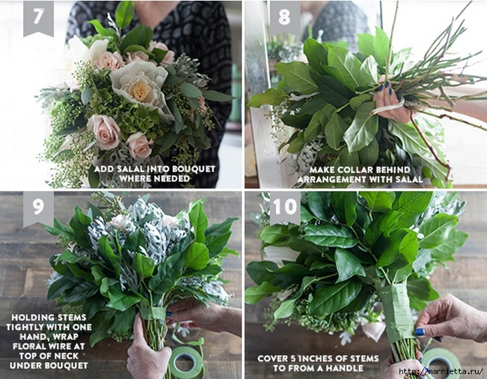 Ramo de la boda de las hojas frescas y flores de papel crepé (3) (696x542, 290Kb)