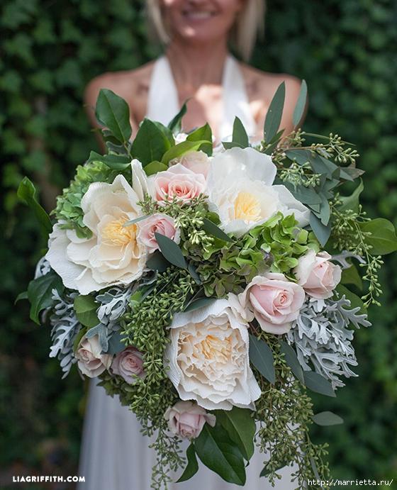 Ramo de la boda de las hojas frescas y flores de papel crepé (5) (560x691, 347KB)