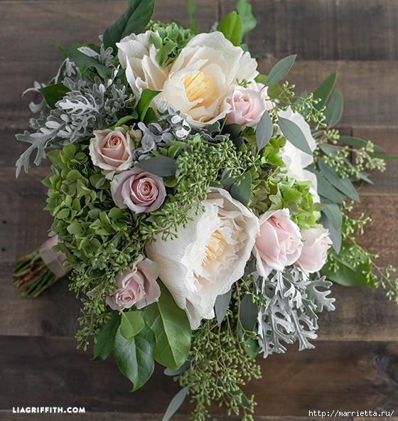 Ramo de la boda de las hojas frescas y flores de papel crepé (6) (560x592, 313KB)