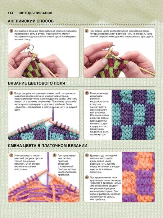 Вязание рисунка цветными нитками