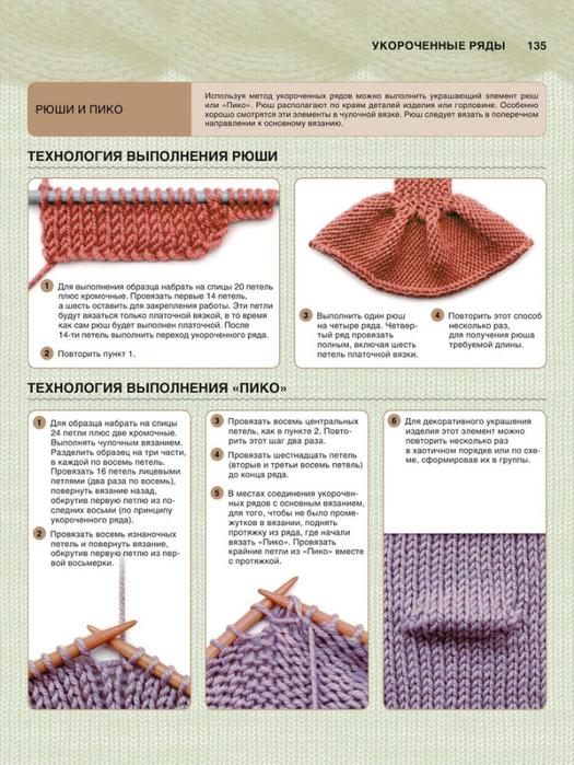 Как вязать укороченные ряды на платочной вязке