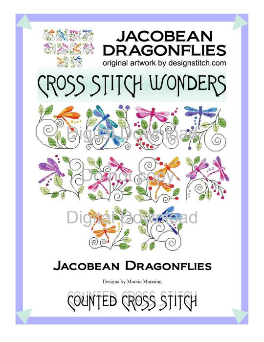 Cross Stitch Wonders - Jacobean Dragonflies (540x700, 260Kb)