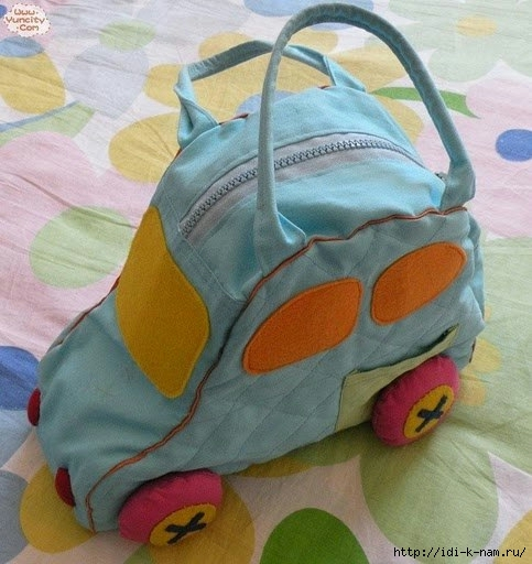 сумка машина, как сшить сумку машинку. выкройка сумки машинки, оригинальные смешные необычные сумки, Хьюго Пьюго рукоделие сумка машинка,