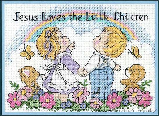 Вышивка крестом, схемы Детки и