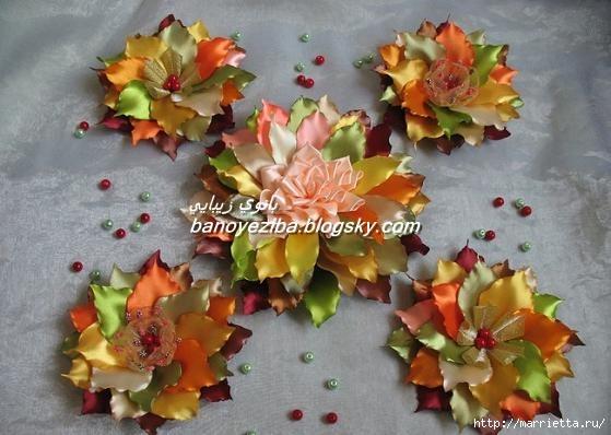 Композиции из цветов из лент своими руками