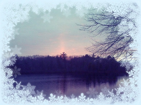pinksunset by michelle with snow border (490x367, 79Kb)