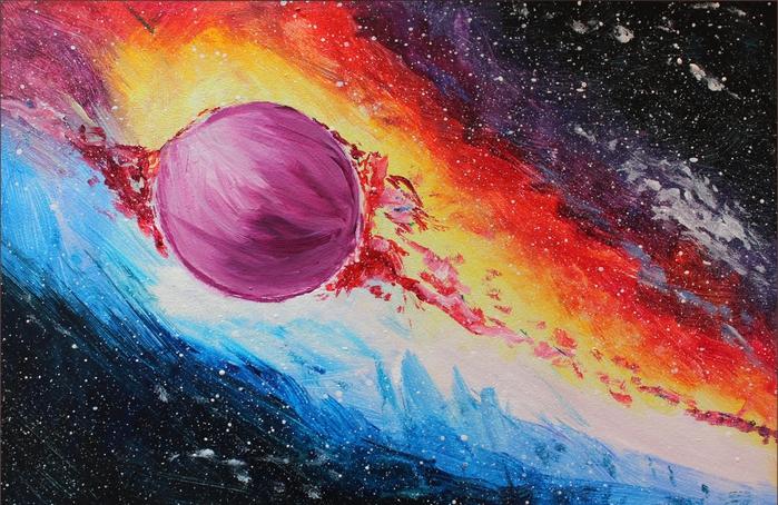 Как рисовать космос красками поэтапно