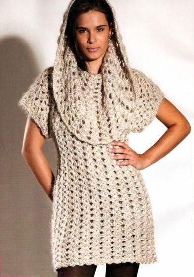 Белое зимнее платье крючком (2) (392x557, 167Kb)