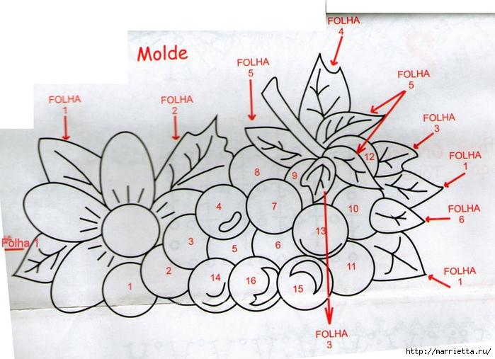 Яркий коврик крючком. Цветок и Гроздь винограда (4) (700x507, 254Kb)