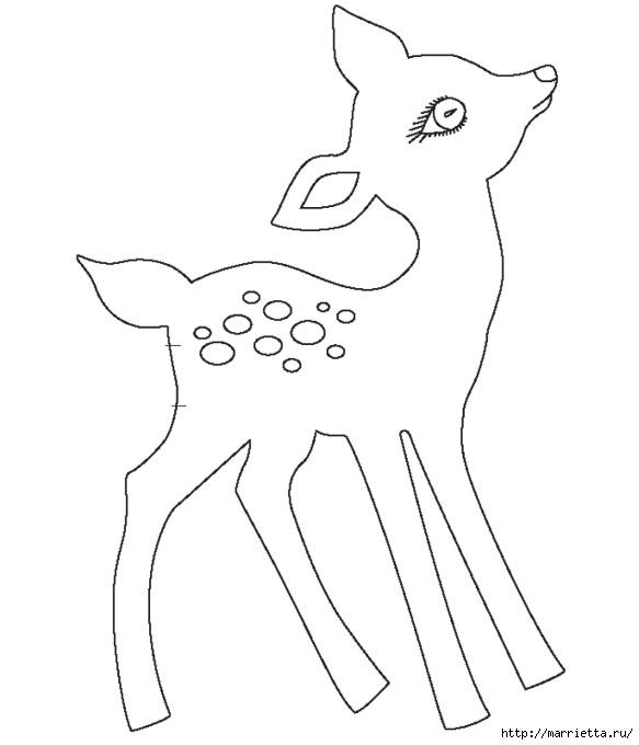Шьем игрушки. Выкройки олененка Бэмби (4) (583x680, 77Kb)