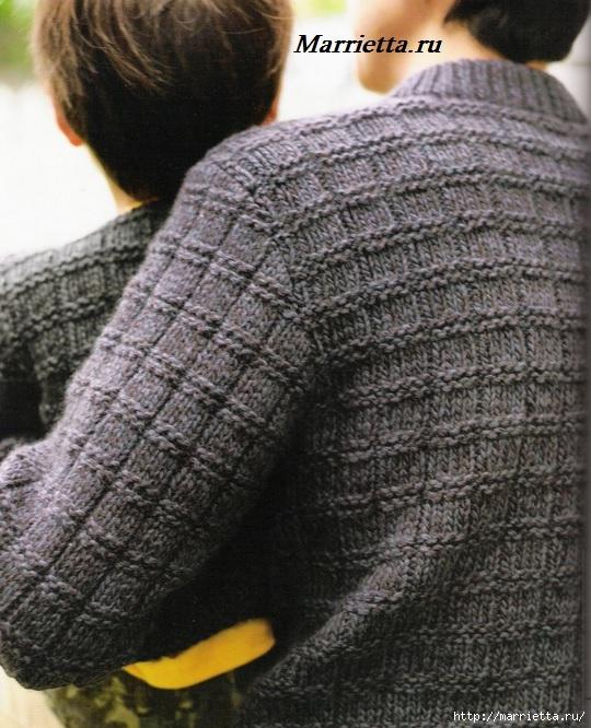 Вязание для мужчин. Теплый зимний свитер спицами (2) (540x666, 267Kb)