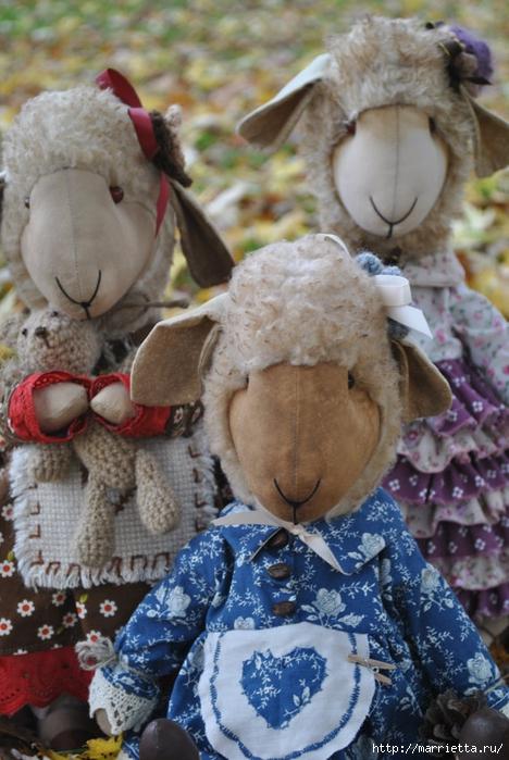 текстильные овцы, ежик, коза и медведи (1) (468x700, 277Kb)