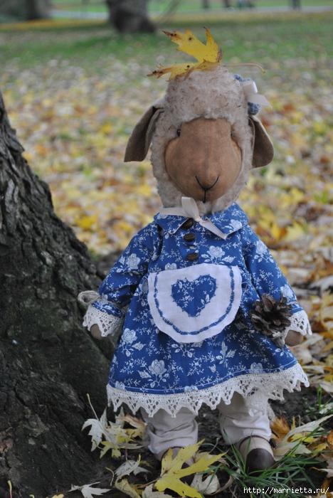 текстильные овцы, ежик, коза и медведи (11) (468x700, 293Kb)