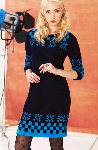 Платье с норвежским узором вязание спицами