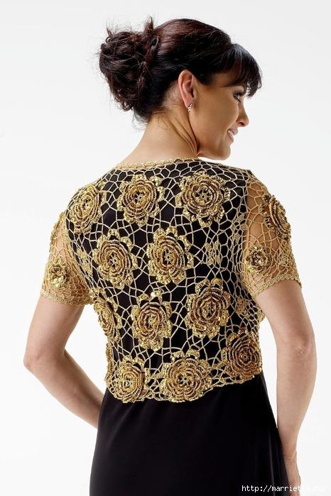 Золотой жакет-накидка для вечернего платья. Вязание крючком (5) (466x700, 239Kb)