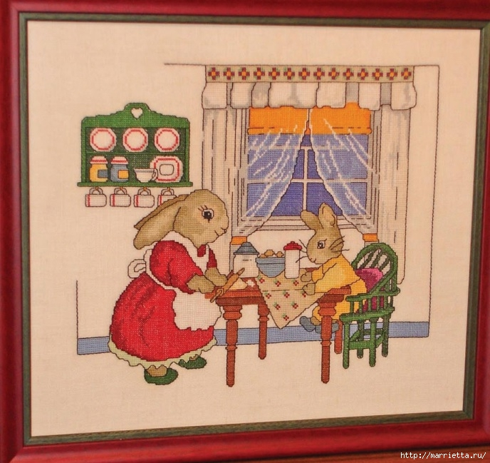 Вышивка детского панно. Семейка зайцев (688x649, 279Kb)