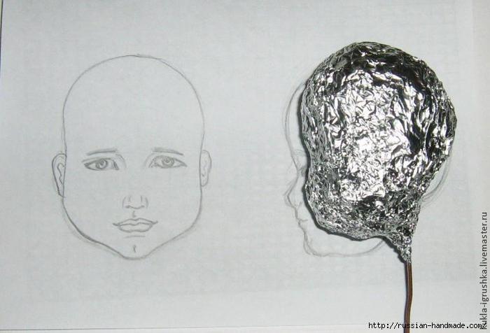 Лепка из полимерной глины. Голова куколки (7) (700x476, 186Kb)
