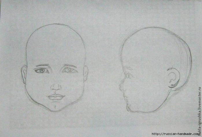 Лепка из полимерной глины. Голова куколки (9) (700x474, 185Kb)