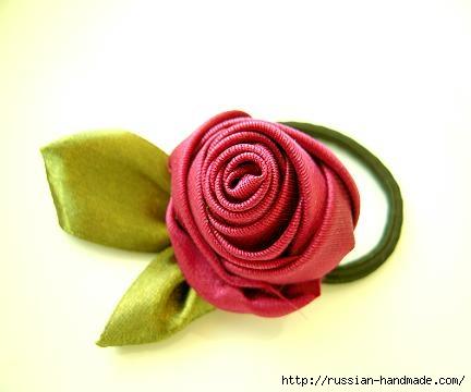 Роза из ленты для создания украшений. Мастер-класс (4) (432x360, 54Kb)