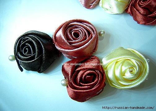 Роза из ленты для создания украшений. Мастер-класс (16) (504x360, 132Kb)