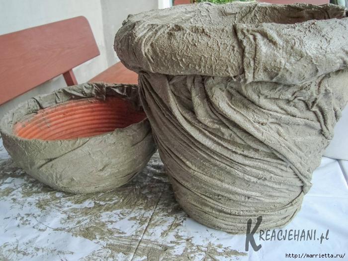 Кашпо из ткани и цемента своими руками