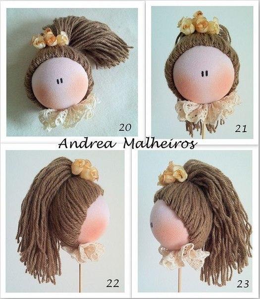 Волосы из пряжи для кукол