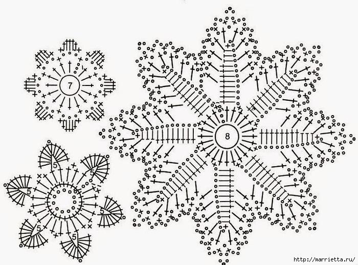 Схемы СНЕЖИНОК крючком (700x518, 279Kb)