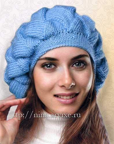 вязаные шапки, береты спицами