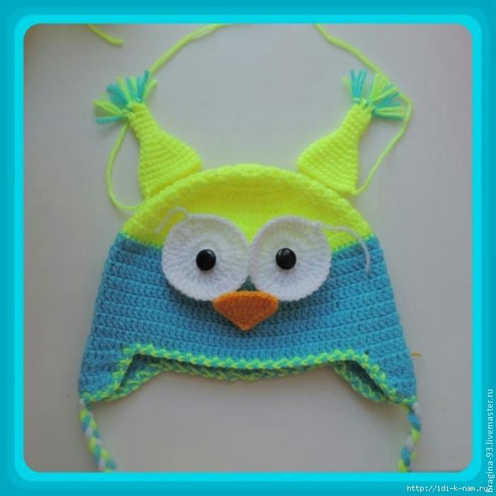 схема вязания шапочки совы
