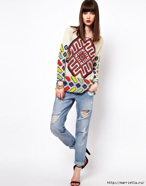 Пуловер крючком в этническом стиле (4) (474x604, 96Kb)