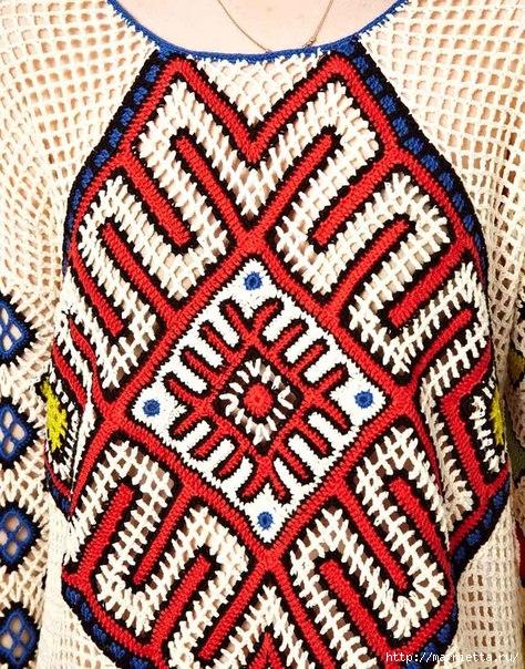 Пуловер крючком в этническом стиле (6) (474x604, 352Kb)
