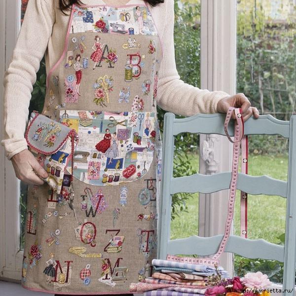 Льняной фартук для рукодельницы, с вышивкой на швейную тему (14) (600x600, 270Kb)
