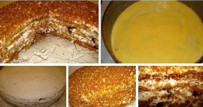 Медовый бисквитный торт со сметанным кремом пошаговый рецепт с