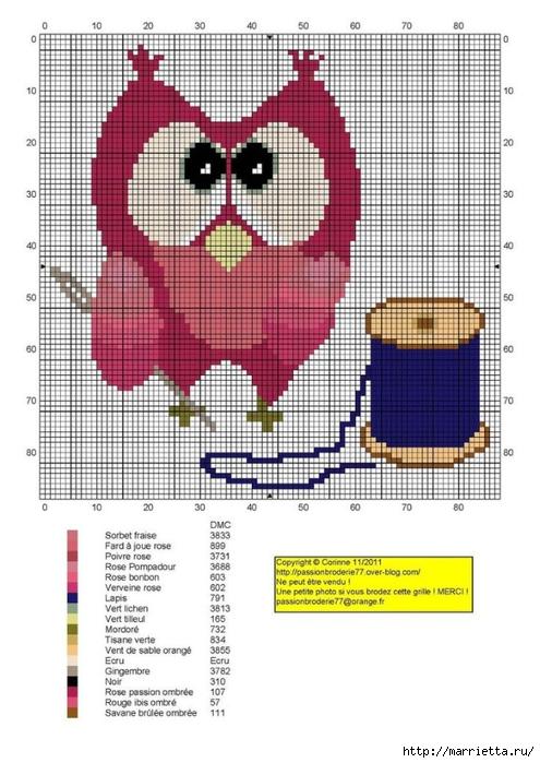 СОВУШКИ. Схемы вышивки крестом (3) (495x700, 238Kb)