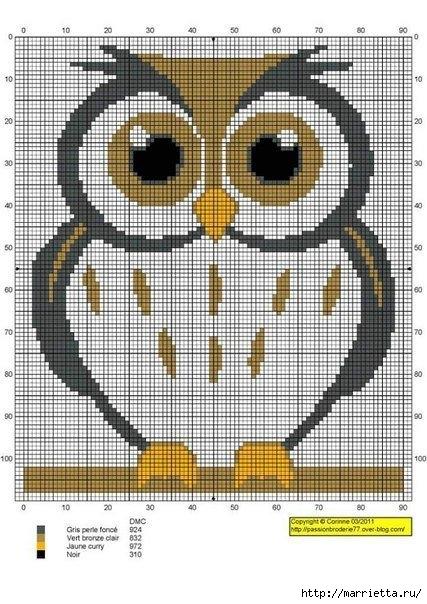 СОВУШКИ. Схемы вышивки крестом (9) (427x604, 197Kb)