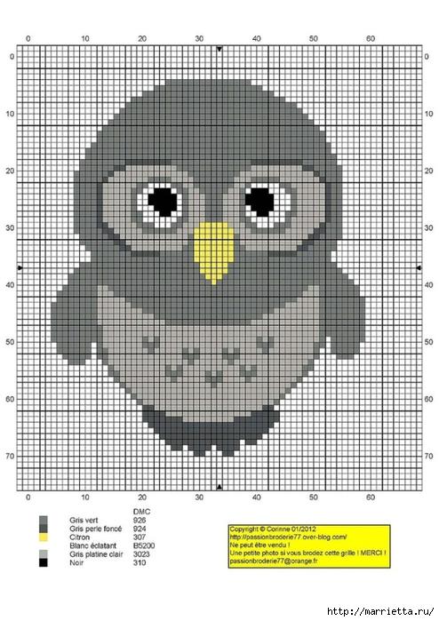 СОВУШКИ. Схемы вышивки крестом (17) (494x700, 262Kb)