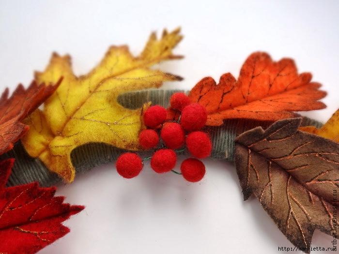 Осенний венок из фетровых листьев. Мастер-класс (17) (700x525, 210Kb)