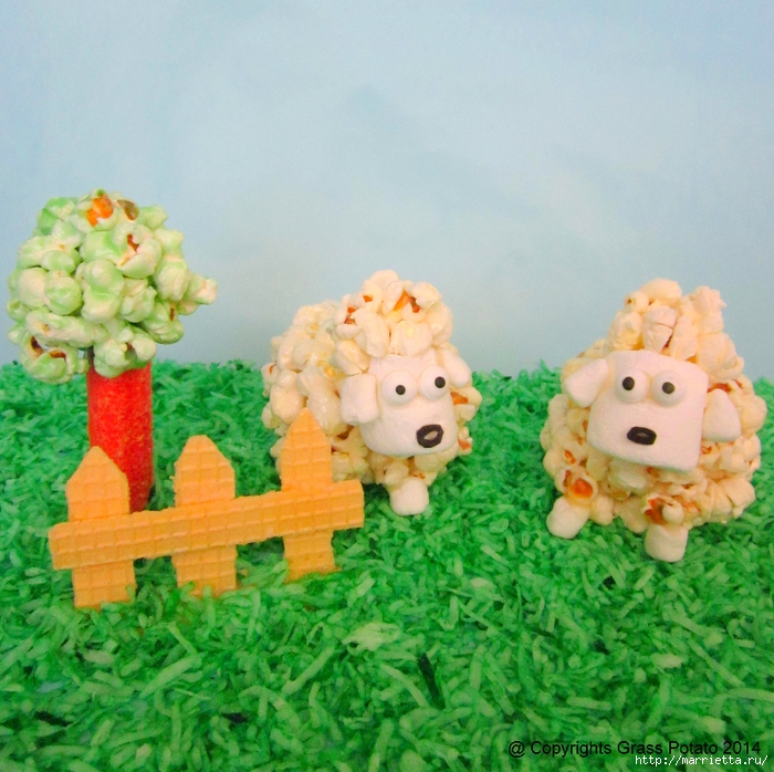 Сладкие овечки из попкорна и зефирок маршмеллоу (3) (700x698, 385Kb)