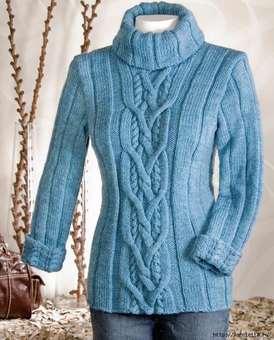 Вязание спицами. Пуловеры с косами (2) (566x700, 388Kb)