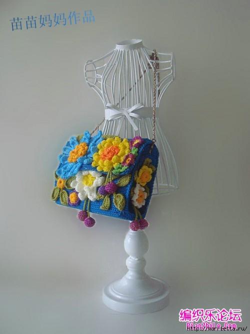 Вязание крючком. Сумочки с цветами. Идеи (9) (500x667, 120Kb)