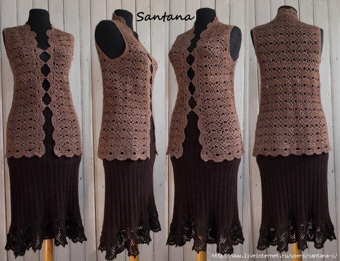 Вязание жилет юбка крючком