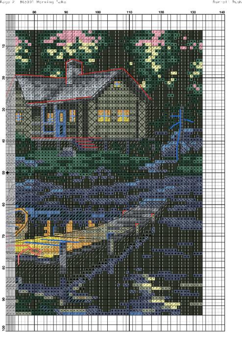 Схема вышивки утро на озере 67