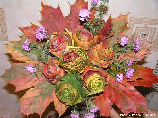 Розы из осенних листьев своими руками (1) (550x411, 193Kb)